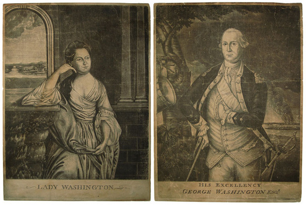 Mezzotint, Martha Washington and George Washington